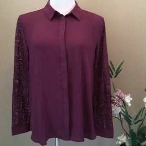🍁Loft Plum Lace Blouse/Top
